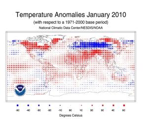 Anomalía térmica Enero 2010 (NOAA)
